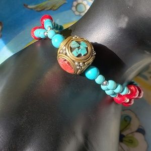 Double Stand Genuine Turquoise & Coral Bracelet
